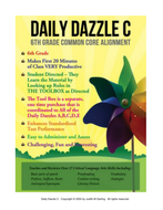 DAILY DAZZLE C - 6th GRADE (Lessons 5 - 8) CC ALIGNED, BELL RINGER PRODUCT  FOR LANGUAGE ARTS