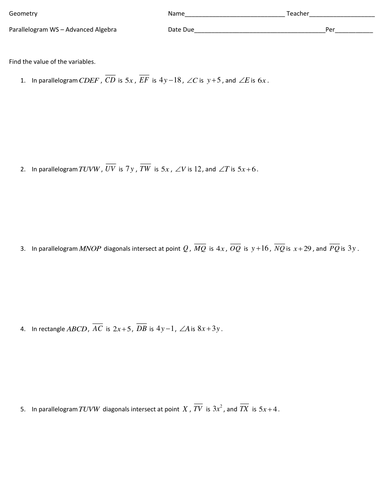 Printables Advanced Algebra Worksheets parallelogram worksheet advanced algebra by amyschander teaching resources tes