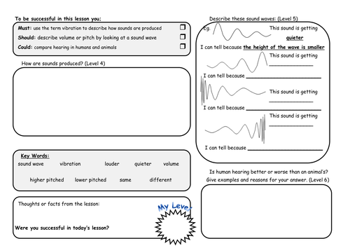 Differentiated Sound Waves Worksheets by Rachael Ann Teaching – Sound Waves Worksheet