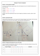 Pythagoras Investigation and Worksheet