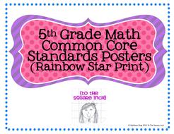 5th Grade Math Common Core Posters- Rainbow Stars