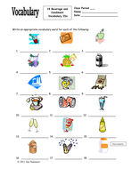 18 Food Unit (Beverages & Condiments) Vocabulary IDs for Any Language