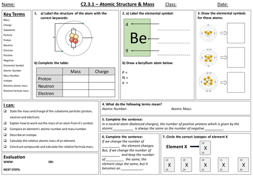 AQA C231 Atomic Structure and Mass by lewistull Teaching – Protons Neutrons and Electrons Worksheet Answers