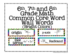 6th, 7th and 8th Grade Math Common Core Word Wall Words- Super Brights