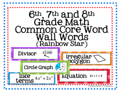 6th, 7th and 8th Grade Math Common Core Word Wall Words- Rainbow Star