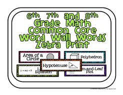 6th, 7th and 8th Grade Math Common Core Word Wall Words-Zebra Print