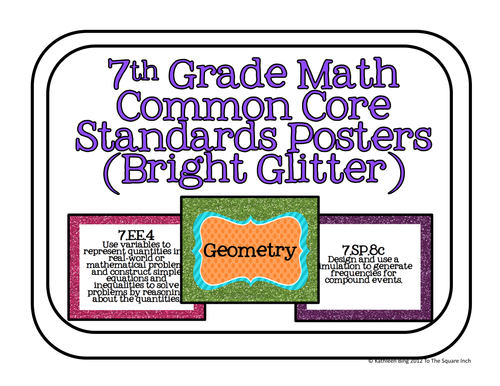7th grade common core math standards posters bright glitter by katembee us teacher lessons tes. Black Bedroom Furniture Sets. Home Design Ideas