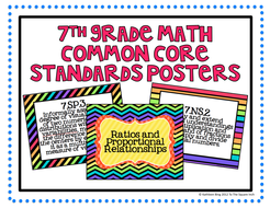 7th Grade Common Core Math Standards Posters- Super Brights!