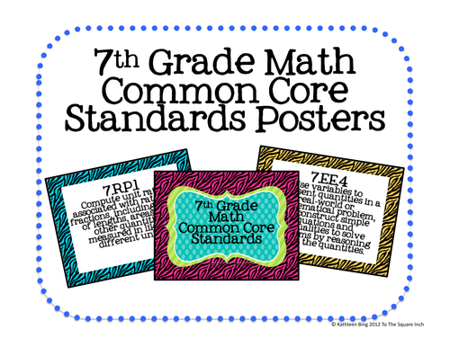 7th grade common core math standards posters zebra print by katembee us teacher lessons tes. Black Bedroom Furniture Sets. Home Design Ideas