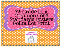 7th Grade ELA Common Core Posters- Polka Dot Print!