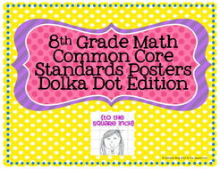 8th Grade Common Core Math Standards Posters- Polka Dotted!