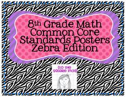 8th Grade Common Core Math Standards Posters- Zebra!