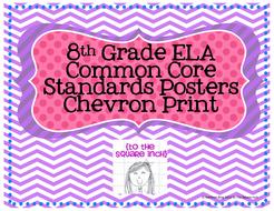 8th Grade ELA Common Core Posters- Chevron Print!