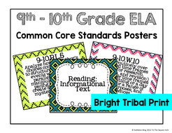 9-10th Grade Common Core ELA Standards Posters- Bright Tribal Print