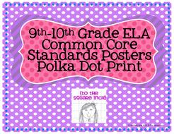 9-10th Grade Common Core ELA Standards Posters- Polka Dot Print