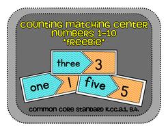 Counting Matching Center Numbers 1-10 FREEBIE, CCS: K.CC.A.1, K.CC.B.4