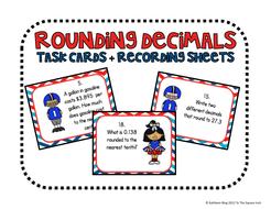Football Rounding Decimals Task Cards and Recording Sheets CCS: 5.NBT.4