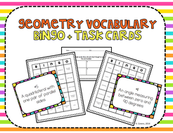 Geometry Vocabulary Bingo and Task Cards, Common Core Aligned Review