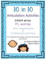 articulation activities l blend series pl blend words for speech