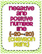 Negative and Positive Number Line (Chalkboard Header-Chevron Print)