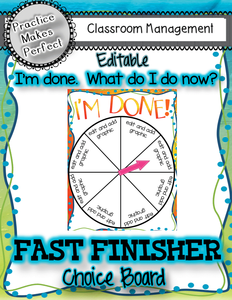 Classroom Management Tips: Fast Finisher Choice Board
