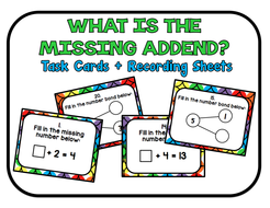 What is the Missing Addend Task Cards & Recording Sheets