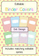 editable binder folder covers with spines dot themed by kati6