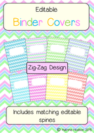 editable binder folder covers with spines zig zag themed by