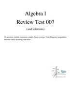 Algebra 1 review practice test