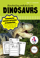 Cursive Handwriting Worksheets for 7 -11 years: Dinosaurs, KS1 & KS2