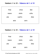 Spanish Numbers 1 to 10 Worksheets and Activities