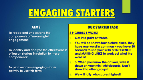Creating Engaging Starters - CPD Session and Resources