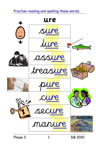 Worksheet Ure Words - Rcnschool