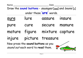 Phase 3:\' ure\' grapheme [as in sure, treasure] - 4 activities and ...