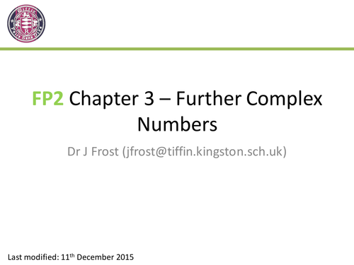 FP2 - Chapter 3 - Further Complex Numbers by DrFrostMaths ...
