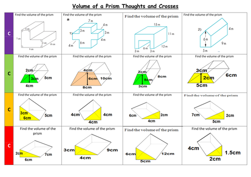 Volume and surface area of prisms by PixiMaths Teaching – Volume of a Prism Worksheet