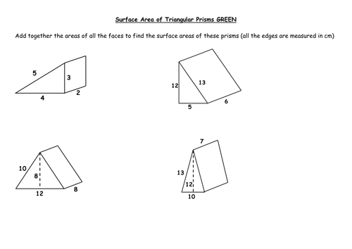 Volume and surface area of prisms by PixiMaths Teaching – Surface Area Prism Worksheet