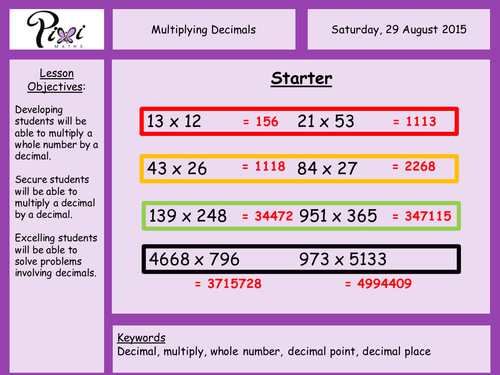 Multiplying decimals by PixiMaths Teaching Resources TES – Multiply Decimals Worksheet