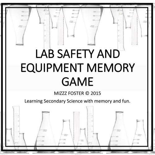 Lab Safety and Equipment Memory Game Classic B&W version