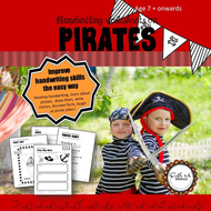 Cursive Handwriting Worksheets for 7 -11 years: Pirates, KS1 & KS2