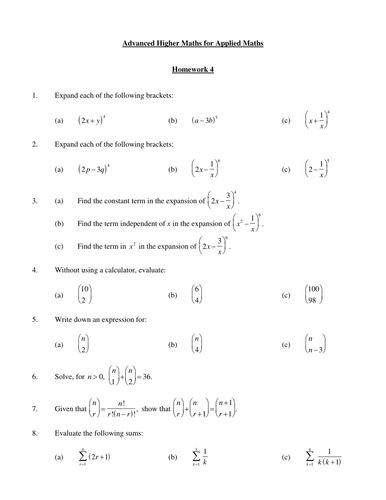 Advanced Applied Higher Mathematics worksheets x11, unit 1 summary ...