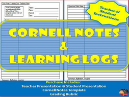 Cornell Notes Learning Logs Teacher And Student Instructions Presentation Template Rubric