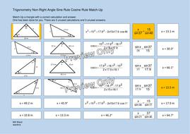 Trigonometry Non-Right-Angle Sine Rule Cosine Rule Match-Up