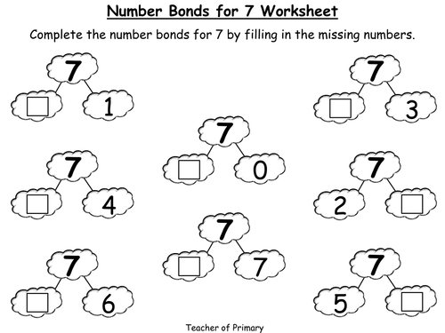 Number Bonds The Story of 7 Animated PowerPoint Presentation – Number 7 Worksheet