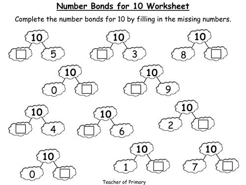 Number Bonds To 10 Sheet Tes - K5 Worksheets