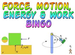Force, Motion, Energy & Work bingo