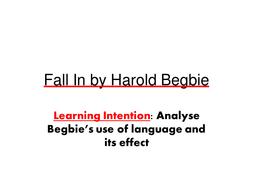 Fall in Harold Begbie WW1 poetry
