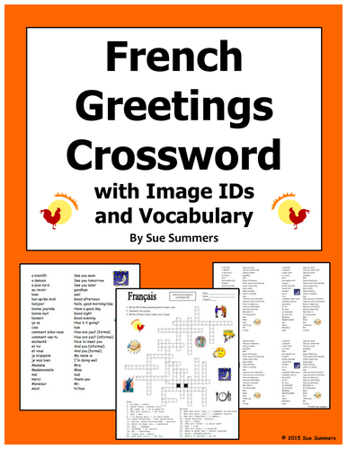 french greetings and basics crossword puzzle ids and vocabulary by us teacher lessons tes. Black Bedroom Furniture Sets. Home Design Ideas
