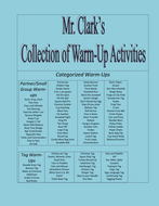 PE Collection of Warm-Up Activities