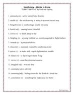 Rikki Tikki Tavi Vocabulary Activities